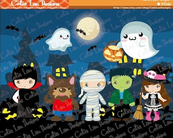 Halloween clipart Halloween Party Digital images Dracula Vampire Spooky Werewolf Witch Zombie Mummy clip arts(CG074)