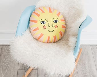 Sun Nursery Cushion, Colorful Bedroom Decor, Gender Neutral Nursery Decor, Sun Pillow, Round Cushion, New baby Gift, Contemporary Folk Decor