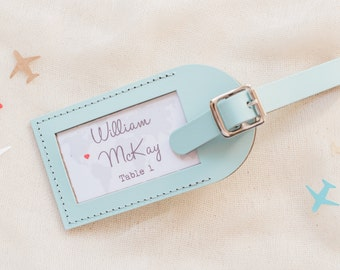 Wedding Favors - Find Your Seat Escort Card Leather Luggage Tags