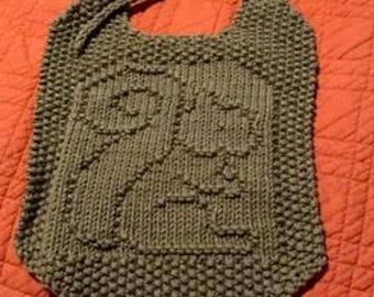 Hand Knit Squirrel Bib & Washcloth Set