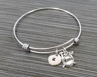 Drum Set Bangle Bracelet - Drum Kit Bracelet - Personalized Drummer Bracelet - Musician Gift - Drums Bracelet - Musical Instrument Jewelry