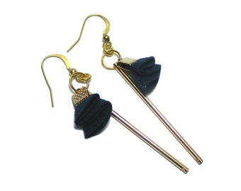 Bar Dangle Earrings, Boho Drop Earrings, Bohemian Jewelry, Handmade Bar Earrings, Dark Blue Earrings with Long Bar
