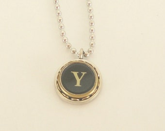 Typewriter Key Necklace -  Letter Y - Vintage - Initial Jewelry -  ALL Letters Available - Typography Jewelry