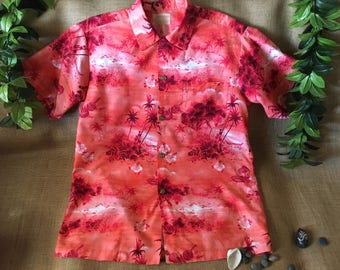 Vintage Hawaiian shirt sunset colors oranges and reds