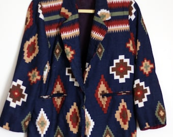 New Mexican Native Jacket: 1980s Michael K Company Southwestern Vintage Suit Coat Blazer- Matching Skirt Sold Separately