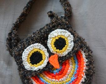 Crochet Owl Purse, Crochet Owl Bag, Girl's Owl Bag, Child's Purse, Handmade Owl Purse, Child Size Bag, Owl Bag, Crochet Purse