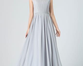gray chiffon dress, sleeveless dress, round neckline dress, pleated dress, fit and flare dress, summer dress, mod clothing, gift 1914