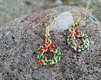 Festival Christmas Decorations Gold plated Charm Earrings - Womens Holiday Jewelry - Red, Gold, and Green Holiday Wreath with Bow