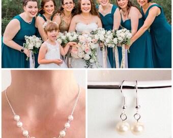 Bridesmaid Necklace, Bridesmaid Gift, Pearl Necklace, Ivory Pearl Necklace, Pearl Jewelry