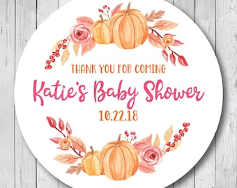 Thank You For Coming Stickers, Personalized Watercolor Pumpkin Stickers, Fall Watercolor Tags, Fall Thank You Labels, Fall Baby Shower Tags