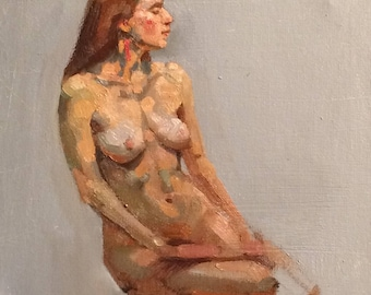 original oil painting 8x10 inch figure sketch