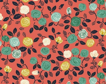 CORAL ROSES - ORGANIC Knit Fabric