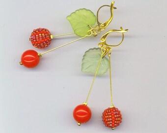 Beadwoven Cherry Earrings . Red Beaded Beads . Cherry Cherries . Kiwi Green Acrylic Leaves - Christmas Cherries by enchantedbeads on Etsy
