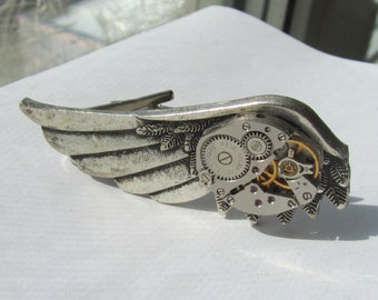 Steampunk Wing Tie Clip vintage watch movement Mens Tie Tack Industrial chic Gift for Him Mens gift ideas Birthday gift Men's style