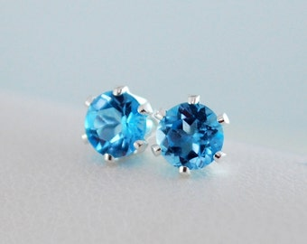 Bright Blue Topaz Earrings, Studs, Child Children Girl, AAA Real Gemstone, 4mm, Sterling Silver Post, December Birthstone Jewelry