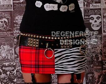 Red Plaid and Zebra Print Split PUNK Skirt Street Punk Clothing Animal Print Punx Mini Skirt XS-XXL