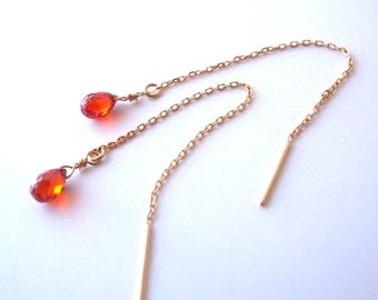 18k Gold, Natural Carnelian Threader Earrings(Free Shipping)