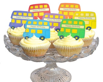 Edible Rainbow Mix Buses x 14 - Personalised - Wafers Rice Paper - Cake Cupcake Biscuit Toppers - Tea Party Decoration 6 x 4.5cm Shapes