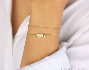Initials Bracelet with a Heart B4 • personalized bracelet, monogram bracelet, lowercase, love, stacking, gift for her, bridesmaids gift