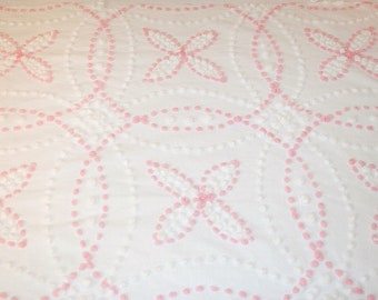 Pink Vintage Chenille Wedding Ring Flowers | Hand Tufted Candlewick Vintage Chenille Bedspread Fabric Piece | 45 x 32 Inches+ | 14 Flowers