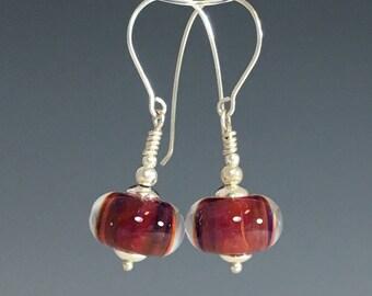 Lampwork Glass Earrings, Red Bead Earrings, silver earrings, gift for her, Gift for Mom, dangle earrings, Handmade lampwork Glass Earrings