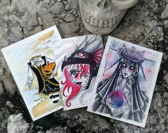 3 cards - ACEO Commission Drawing