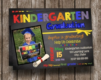 Kindergarten Graduation Invitation - Custom - Photo - Chalkboard - Announcement - Printable - PDF - JPG - Sign - Poster - Invitations