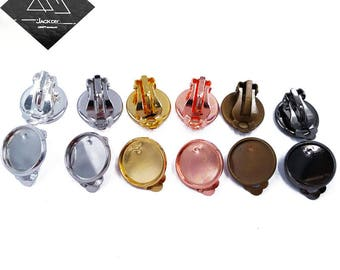 50pcs Clip-on Earring Bronze/ Silver/ Gold/ Rose Gold/ Gunmetal Plated 10mm/ 12mm/ 14mm/ 16mm/ 18mm/ 20mm Round Bezel Cup