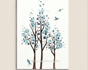 Blue Home Decor Watercolor Tree Print, Flying Birds 5 x 7 Nature Wall Art Print, Modern Living Room Art (19)