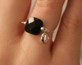 Silver chain and square glass ring