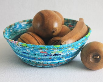 Fabric Coiled Basket / Coiled Clothesline Bowl / Rope Basket / Fabric Pottery / Teal Bohemian Medium Round by PrairieThreads