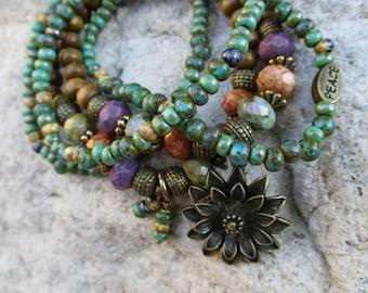 Gypsy Bohemian Stacker Stretch Bracelet Set of 5 - Flower Charm -Peace Bead - Hippie Bracelet Set