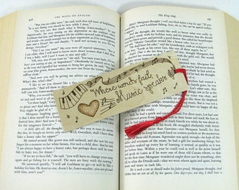 Wood Bookmark. Music Quote. Music Bookmark. Music Teacher Gift. Banjo. Wood Pyrography. Piano Bookmark. Musician Gift. Instrument. Keyboard