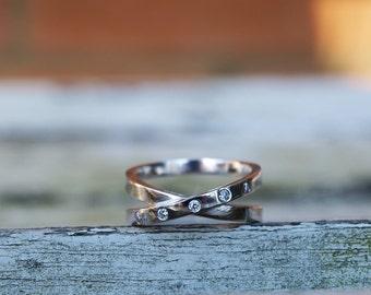 Palladium and diamond infinity ring