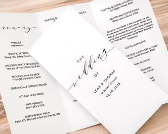 """Trifold wedding program, Printable Trifold program, Order of Service, Z fold or Trifold, """"Wedding"""" Edit in WORD or PAGES"""