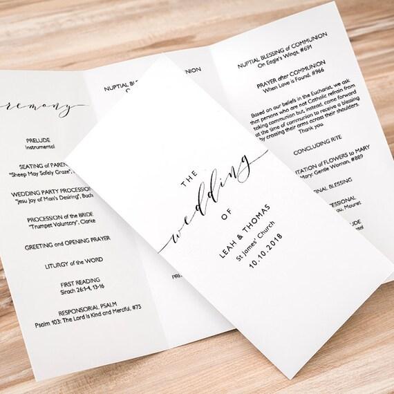 trifold wedding program printable trifold program order of