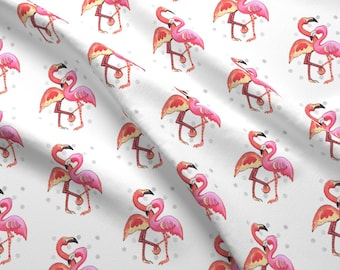 Flamingo Fabric - Tropical Mates By Christina Rowe - Tropical Bird Pink Flamingo Summer Cute Cotton Fabric By The Yard With Spoonflower