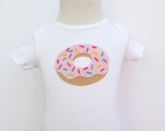 Donut Outifit/Baby Bodysuit with pink frosting and sprinkles - for doughnut lovers birthday shirt