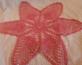 """Hand Made Crocheted 16"""" Lace Pink Doily"""