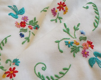 Vintage linen tray cloth or tablecloth. Unusual and pretty English tea tray cloth, vivid hand embroidery flowers. Perfect for a tea party