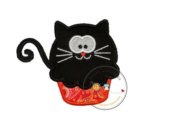 Black cat cupcake - large- iron embroidered fabric applique patch embellishment- ready to ship