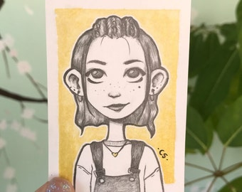 Original ACEO Card - Watercolor & Pencil Drawing of a Girl Cute
