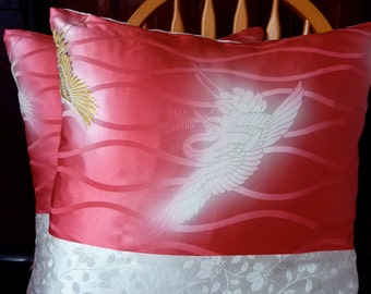 Hot Pink White Gold Tsuru Crane Kiri Paulownia Luxe Vintage Japanese Kimono Silk Pillow Fabric Pillow Cushion Cover