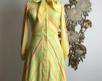 1970s dress yellow dress ascot dress striped dress size medium puff shoulders button up dress mod dress 27 waist vintage dress retro dress