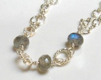 Sterling labradorite bracelet
