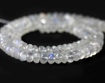 Rainbow Moonstone Micro Faceted Rondelles 5 Semi Translucent White Rainbow Flash Blue Semi Precious Gemstone