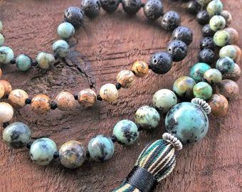 Lava Mala Necklace, Jasper Necklace, African Turquoise Mala, Bohemian Necklace, Healing Necklace, Chakra Necklace, Prayer Beads, Yoga Beads