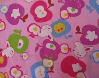 fabric coupon, 140cmx50cm, apples, bunnies, pink background, couture, creative hobbies, patchwork