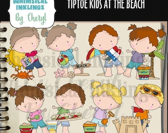 DIGITAL SCRAPBOOKING CLIPART - Tiptoe Kids At The Beach