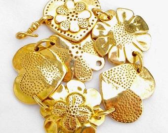 18k Bracelet Masterpiece Solid Gold Recycled Coin Designs Sampler OOAK